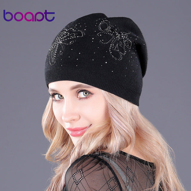 Lace butterfly embroidery knitted beanie cashmere women s warm thick winter  skullies hat f0f4e773cee