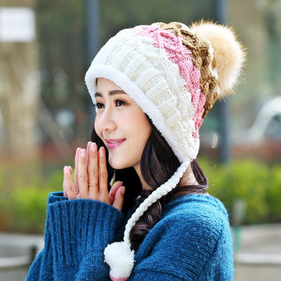 Cute Winter Hats for Girls Crochet Knitted Hats for Women Skullies Beanie  Caps ef271953459