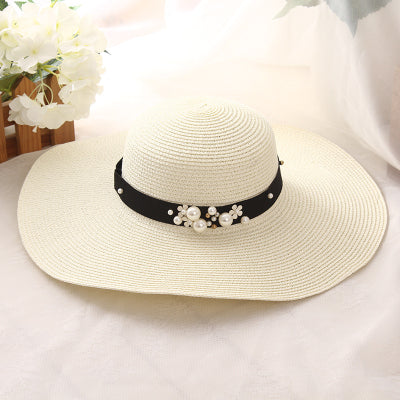 a1a897d7991 High Quality Summer Sun Hats for Women Solid Large Brimmed Black White  Floppy Hats with Pearls Ladies Beach Hat