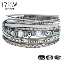 17KM Multiple Layers Punk Leather Bracelet For Men & Women Vintage Simulated Pearl Row Rhinestone Braid Charms Bracelets