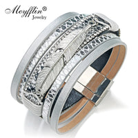 2017 Fashion Alloy Feather Leaf Wide Magnetic Leather Bracelets & Bangles Multilayer Wrap Bracelets for Women Men Jewelry