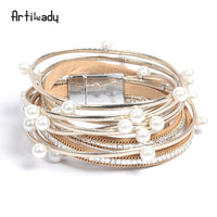 Artilady  wrap leather bangle charm leather bracelet with simulated pearl 2 layer women jewelry