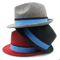 100% Wool Women Men Trilby Homburg Fedora Hat  Jazz Hat With Blue Ribbon Size 56-58CM