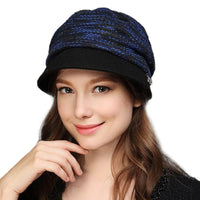 Winter Autumn Women Knitted Hats Fashion Stripe Cap Female Wool Knit Baggy Hat