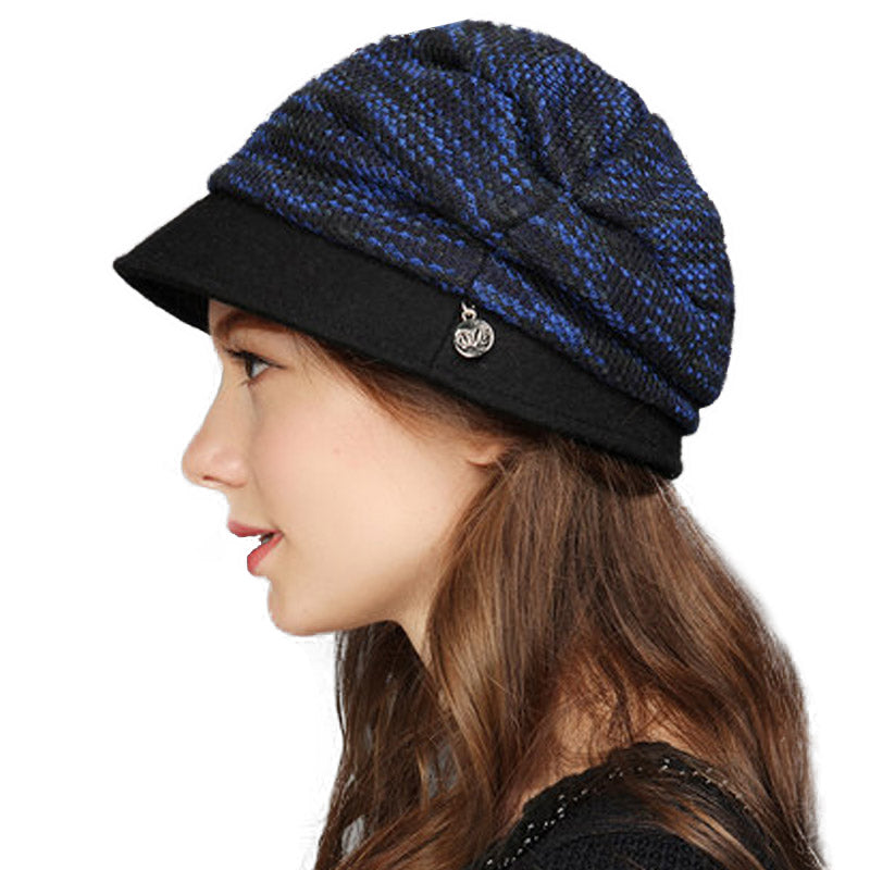 Winter Autumn Women Knitted Hats Fashion Stripe Cap Female Wool Knit Baggy  Hat 39ab66bbe53