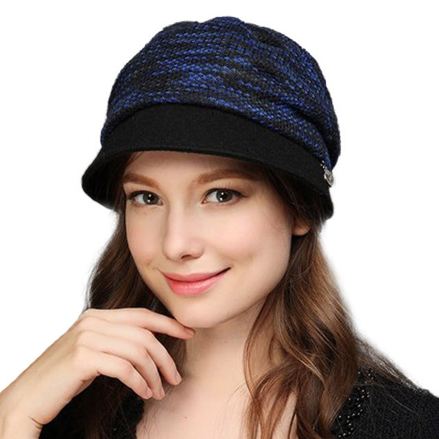 b6788ef37c0 Winter Autumn Women Knitted Hats Fashion Stripe Cap Female Wool Knit Baggy  Hat