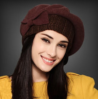 Autumn And Winter Lady Fashion Hats Warm Wool Caps Painter Cap Pumpkin Hat For Women