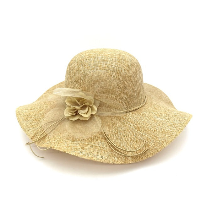 Bow-knot Straw Women s Summer Beach Fashion Sun Hat Floppy Wide Brim Fold-able  Panama Chapeau 5c5484e509b0