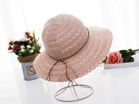2018 New Bow knot Summer Women's Fold-able Wide Large Brim Elegant Sun Hat