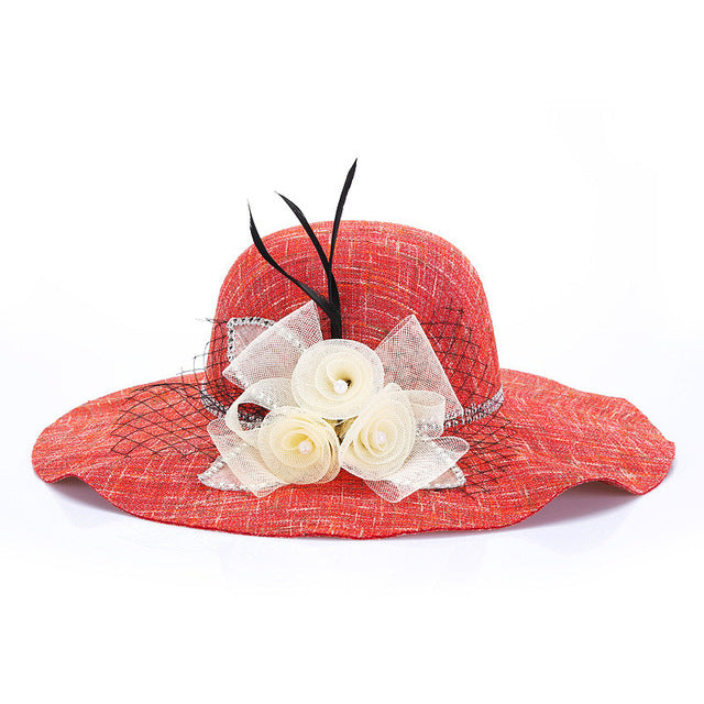 2018 ladies sun hats fashion Sweet Flax grenadine flower Wall Sticks Beach Fold-able sun hat