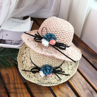 2018 New Fashion Mother Daughter Wide Large Brim Floppy Summer Beach Sun Straw Hat Cap with flower