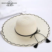 2018 Summer New Fashion Suture Women Sun Hats Big Brim Foldable  Solar Protection Beach Hat