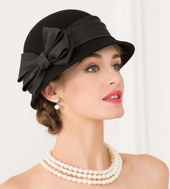 50a4444ee62 100% Australian Wool Hat bow knot Noble Bowler Hats For Women Wide Brim  Formal Church Cloche Hat