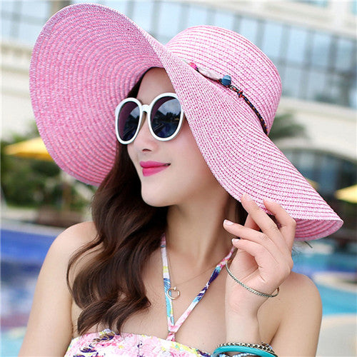 7a1f7591f7794 2018 hot big brim sun hats for woman fold-able colorful stone hand made  straw casual shade summer beach cap