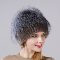 New Style Women's Mink Fur Cap Fluffy Silver Fox  Fur On The Top Cap Hat