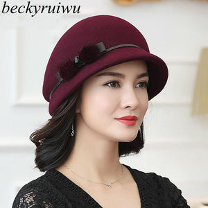 Lady Autumn And Winter Fashion Top Grade 100% Wool Felt Woolen Cloche