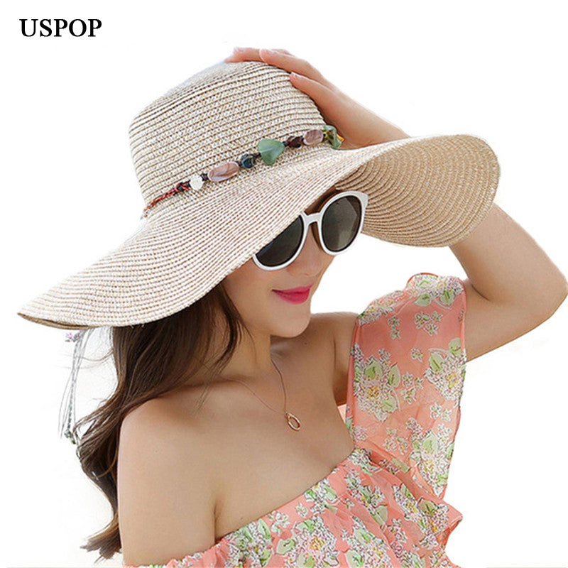a25d66ada69 2018 hot big brim sun hats for woman fold-able colorful stone hand made  straw casual shade summer beach cap