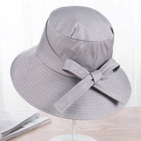 2018 Summer Big Bow Sun Bucket Beach Visor Cap Spring Autumn Cloth Foldable