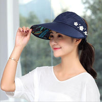 Women Summer Sun Hats with Pearl Packable Wide Brim Sun Visor