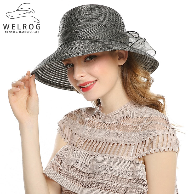 Elegant Fashion Women s Summer Sun Hats With Big Bow Flower Wedding Church Beach  Hat 5ca0e6ed9d48