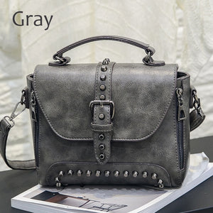Crossbody Messenger Bags 2018 Vintage Leather  Famous Brand Rivet Small Shoulder Sac