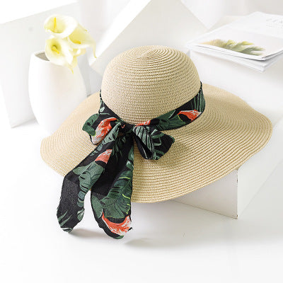 2018 New Summer Sun Hat Bow Ribbon Panama Beach Hats for Women Chapeu  Feminino Sombrero Floppy Straw Hat 4db16fb1d40c