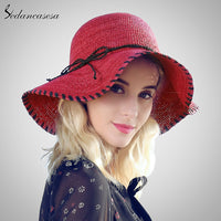 Sedancasesa Natural Raffia Straw Summer Hat Folding UV Protection Sun Hats For Women Girls Large Brim Floppy Cap