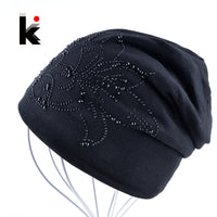 2018 Autumn And Winter Flower Rhinestone Beanies Balaclava Womens Skullies