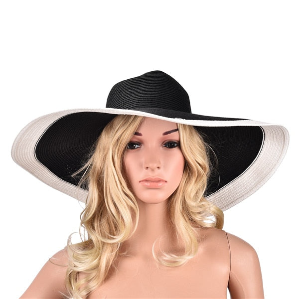 Huge Brim Sun Hats 7.1   18cm Paper Straw Summer Floppy Beach Hats for Womens  Ladies UV Protect 06255c990