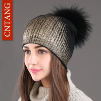 2018 New Winter Knitted Wool Fashion Pom Pom Real Raccoon Fur Caps Skullies Hat For Women