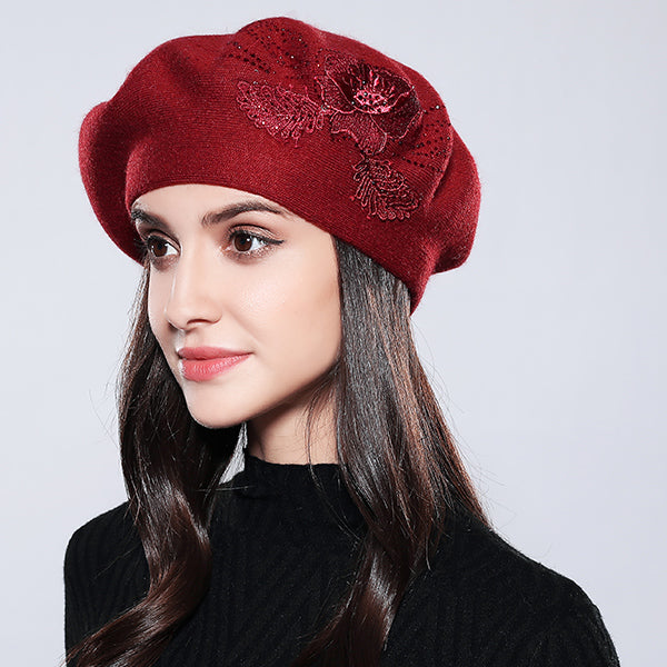 c46eb4d9db8dd8 Women Beret Cotton Wool Knitted Fashion Flower Autumn 2018 Winter Hats For Women  Caps