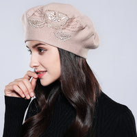 Women Beret Cotton Wool Knitted Fashion Flower Autumn 2018  Winter Hats For Women Caps