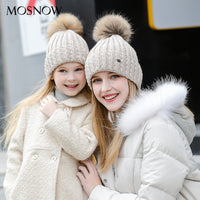Mother And Child Wool Caps 2 Pieces/set Children  Brand New Fashion 2018 Women's Cap Bonnet Skullies #MZ701B