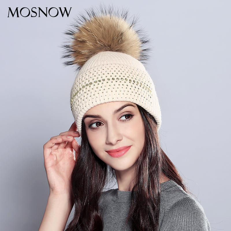 Winter Women s Vogue Wool Natural Raccoon Fur Pom Poms New 2018 Knitted  Warm Hat Female Skullies Beanies f958433dff36