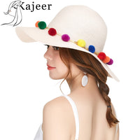 2018 New Summer Cotton Ball Headdress Wide Foldable Hat Large Straw Beach Cap