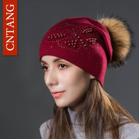 2018 Fashion Pearl Butterfly Women's Knitted Wool Autumn Winter Warm Caps With Natural Fur Pom Pom Ladies Hat