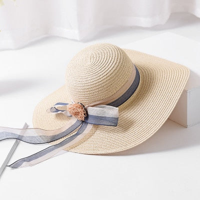 2564666a New Summer Women Floppy Straw Sun Hat With Lace Bow Wide Large Brim  Foldable Caps Fashion Beach Hats