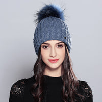 Natural Raccoon Fur Pom Poms Elegant Wool Knitted 2018 Brand New Women's Hats Skullies Beanies