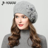2018 Thick Winter Rabbit fur hats for women with rhinestones and knitted flower design .