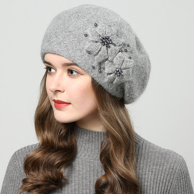 2018 Thick Winter Rabbit fur hats for women with rhinestones and knitted  flower design . 3c80b7a629e