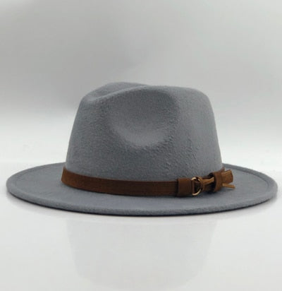 Wool Fedora With Leather Ribbon Gentleman / Elegant Lady Winter Autumn Wide Brim Jazz Church Panama Sombrero