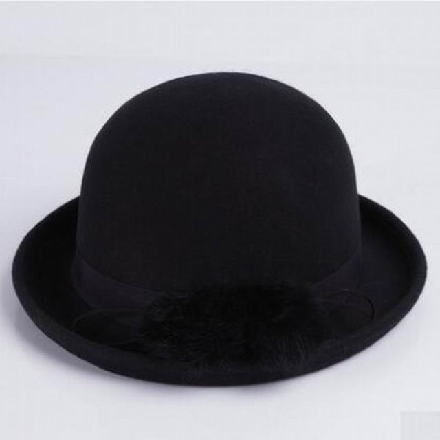 286e973f805 100% Wool Autumn Winter Noble European American Elegant Ladies Wool Bucket  Fedora Hat
