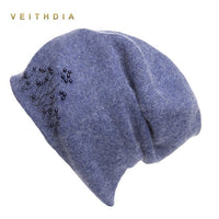 VEITHDIA Women's Cashmere Casual Autumn Winter New Double Layer Thick Pearl Knitted Girls Skullitedes Beanies