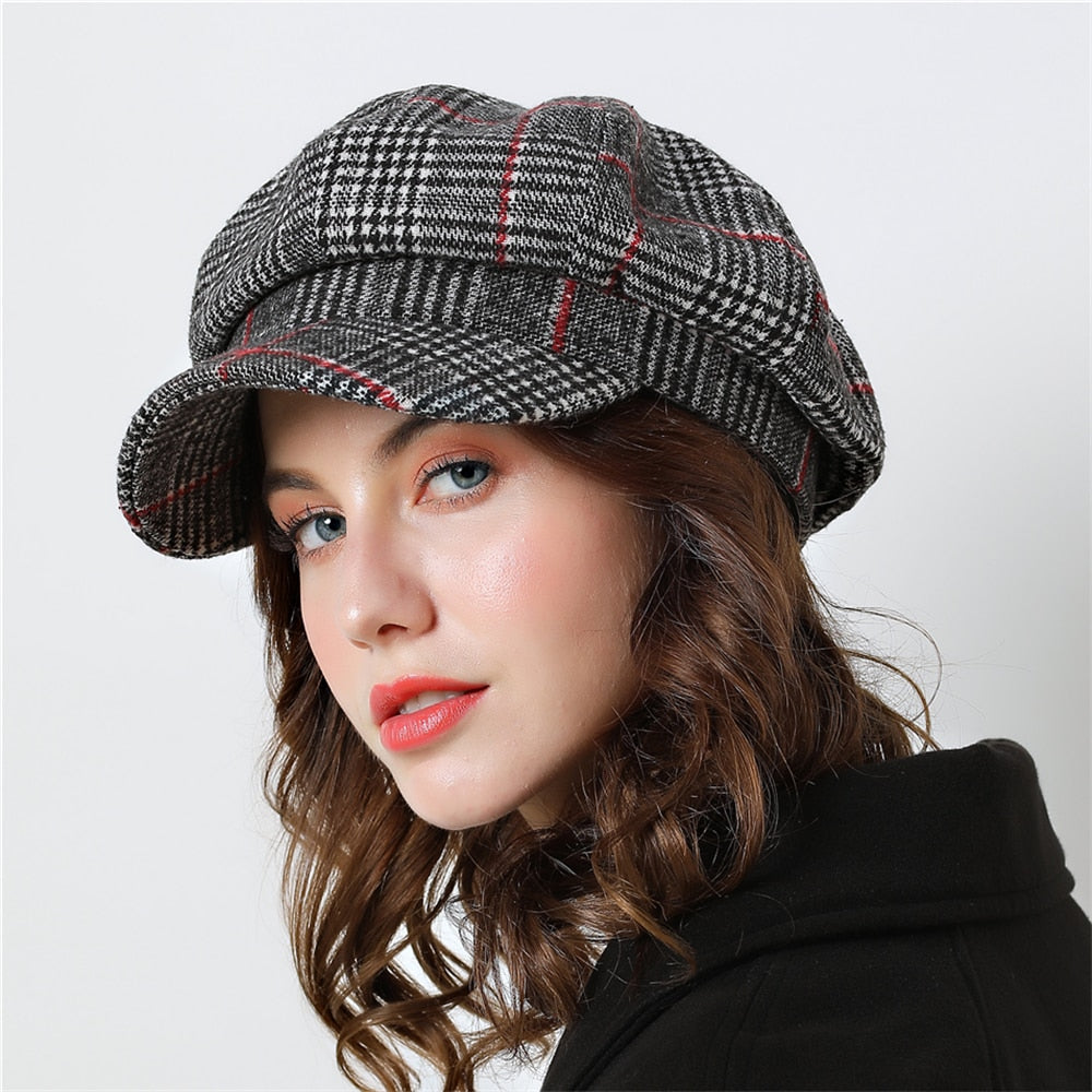 Winter Female Cotton Hats Plaid Vintage Fashion Octagonal Casual boina  Autumn 2018 Brand New Women s Caps 9577fd2e56d