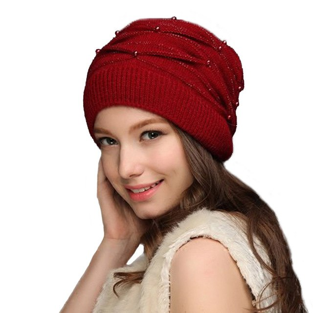 Women s Knitted Winter Wool Rabbit Braid Caps With Faux Pearl Beanies 2018  Slouchy Cap With Scarf 654cd3e0dc6