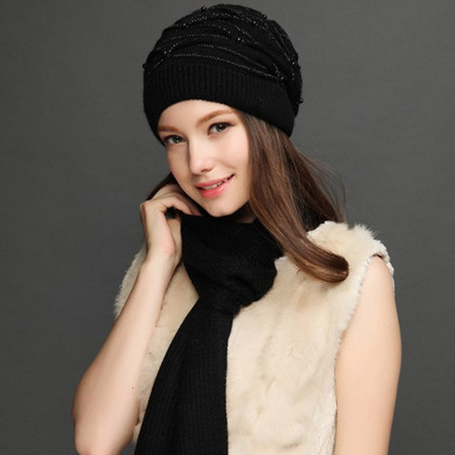 d0243931ee9 Women s Knitted Winter Wool Rabbit Braid Caps With Faux Pearl Beanies 2018  Slouchy Cap With Scarf