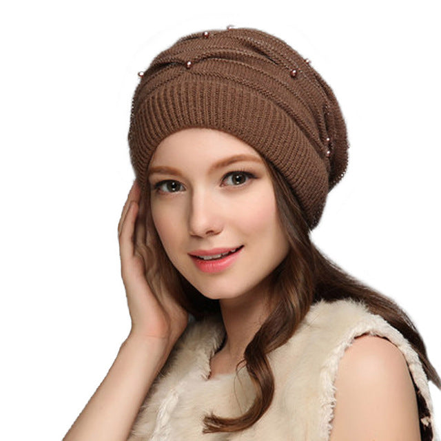 Women's Knitted Winter  Wool Rabbit Braid Caps With Faux Pearl  Beanies 2018 Slouchy Cap With Scarf