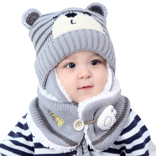 Fashion Winter Caps Warm Cartoon Bear Thick Baby Ear Protectors Hat Beanie Mother & Kids Boys' Baby Clothing
