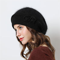 Double layer design winter Berets Hat Warm Knitted Rabbit fur skullies beanies