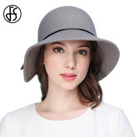100% Wool Felt Fedora Wide Brim Irregular Design Elegant Women  Vintage Cloche Balck, Gray, and Blue